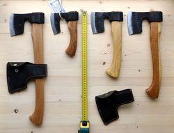 Топоры ТАЙГА. Сравнение по размеру. Слева направо: Т3, Т0, Т1, Т2
